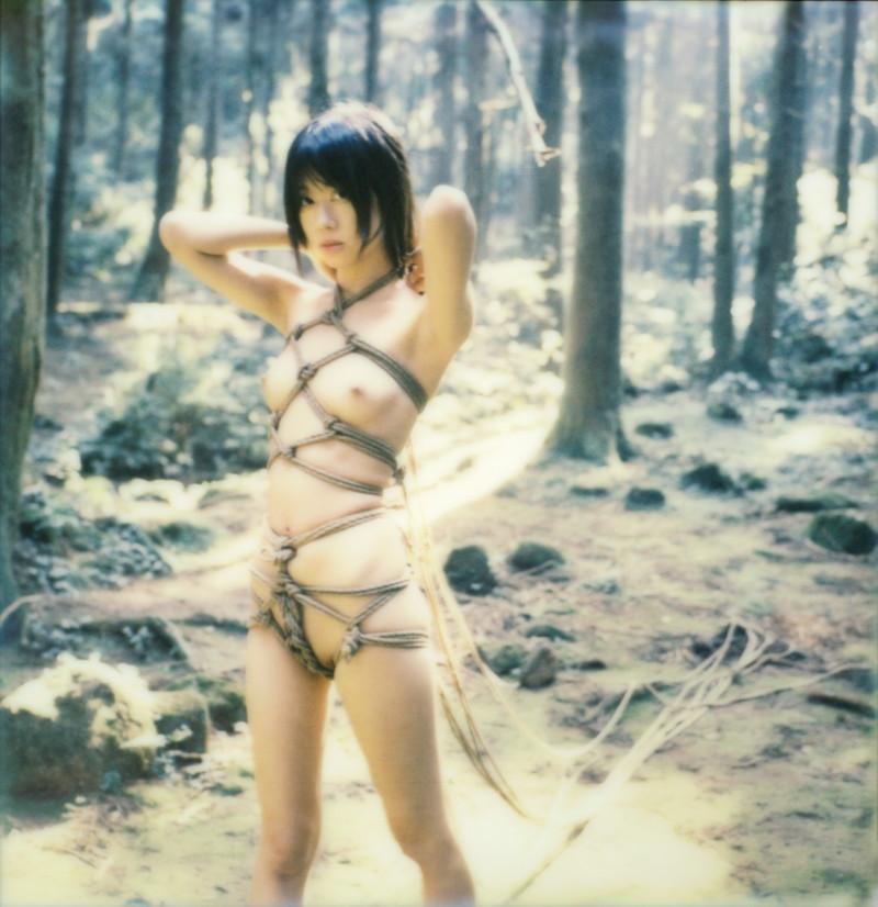 美しい緊縛姿が森の中で露出される!