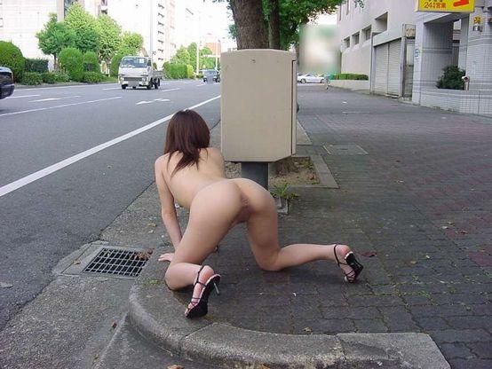 全裸で四つん這いをまさかの道端で…